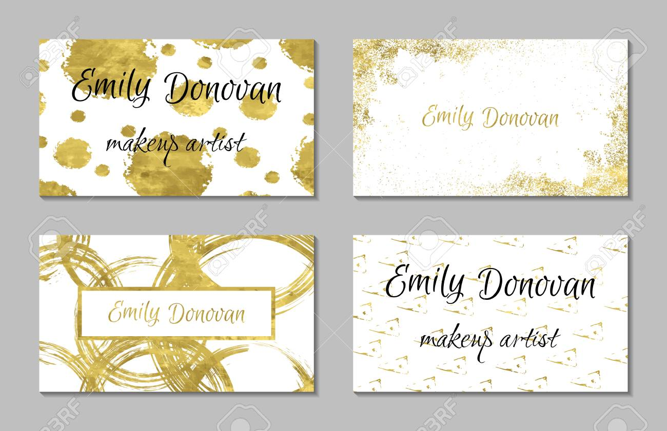 Set Of 4 Golden Business Card Template Or Gift Cards. Texture ...