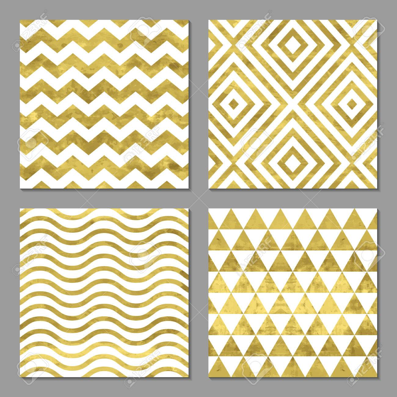 Set of 4 abstract bright golden cards template or invitation set of 4 abstract bright golden cards template or invitation with triangle zigzag stopboris Choice Image