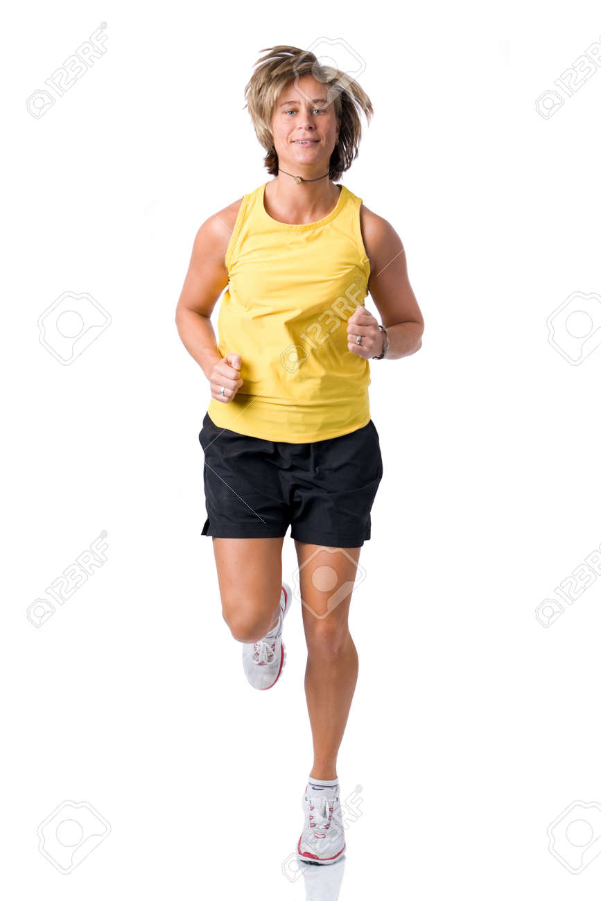 Full isolated picture of a  caucasian running woman Stock Photo - 4172191