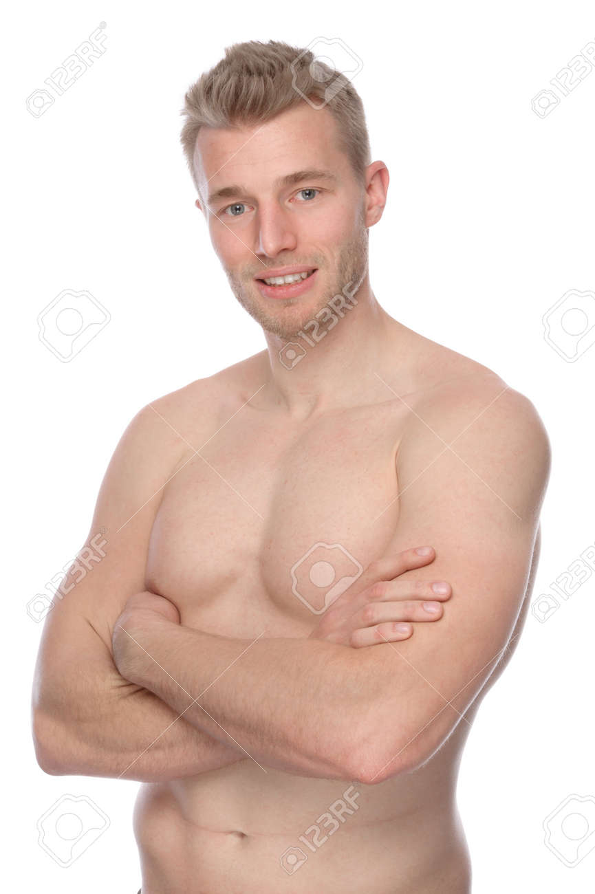 full isolated studio picture from a young naked man stock photo