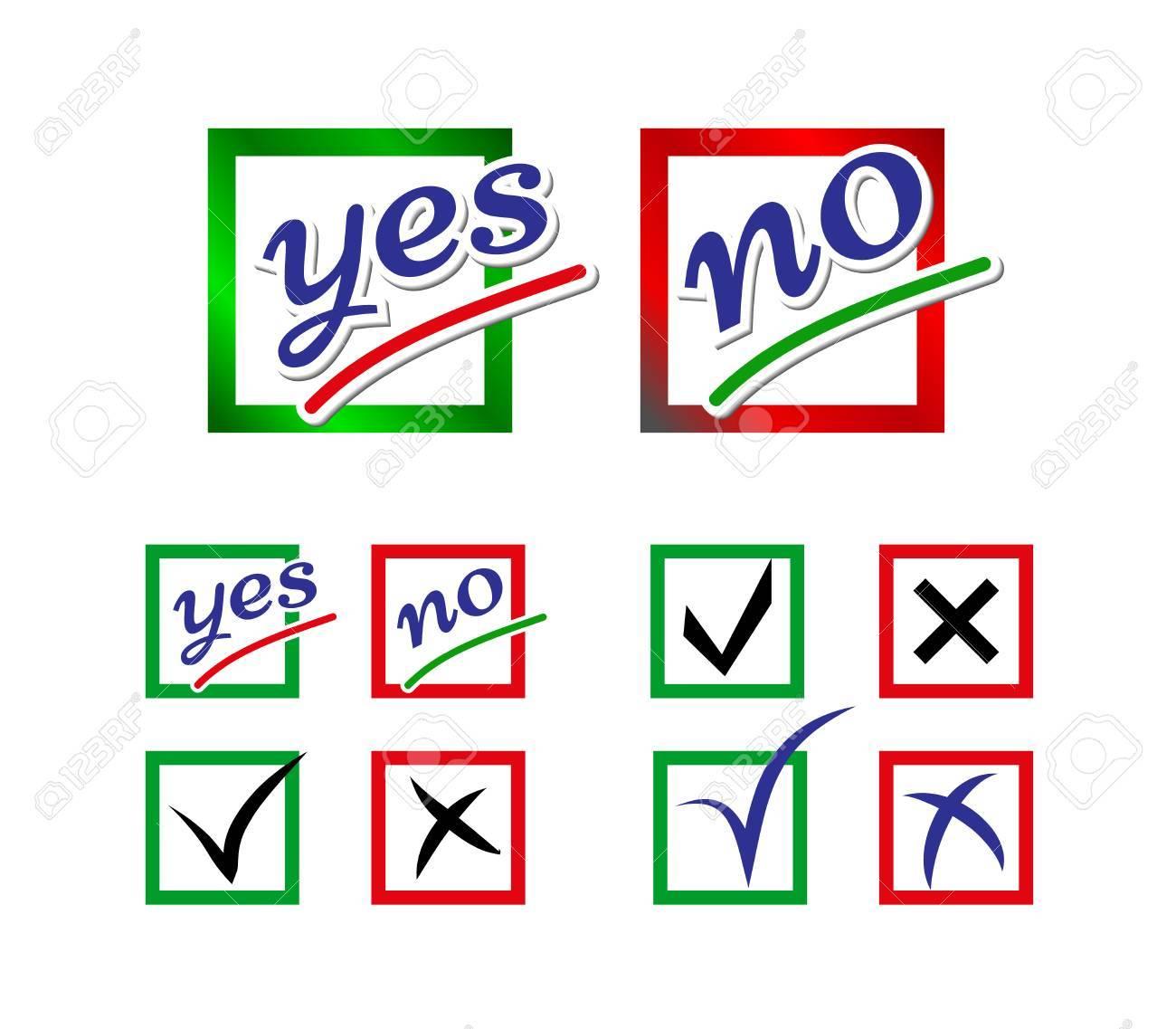 Icons Für Umfrage-Vorlage. Wahlen Symbole. Auswahl Ja Und Nein ...