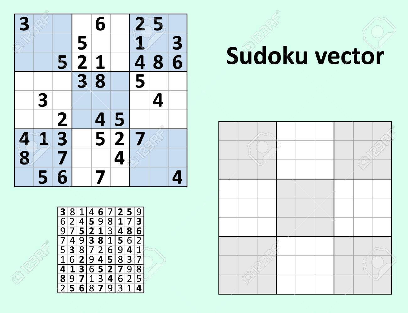 Symmetrical Sudoku With Answers Vector Set. Blank Template. Royalty ...