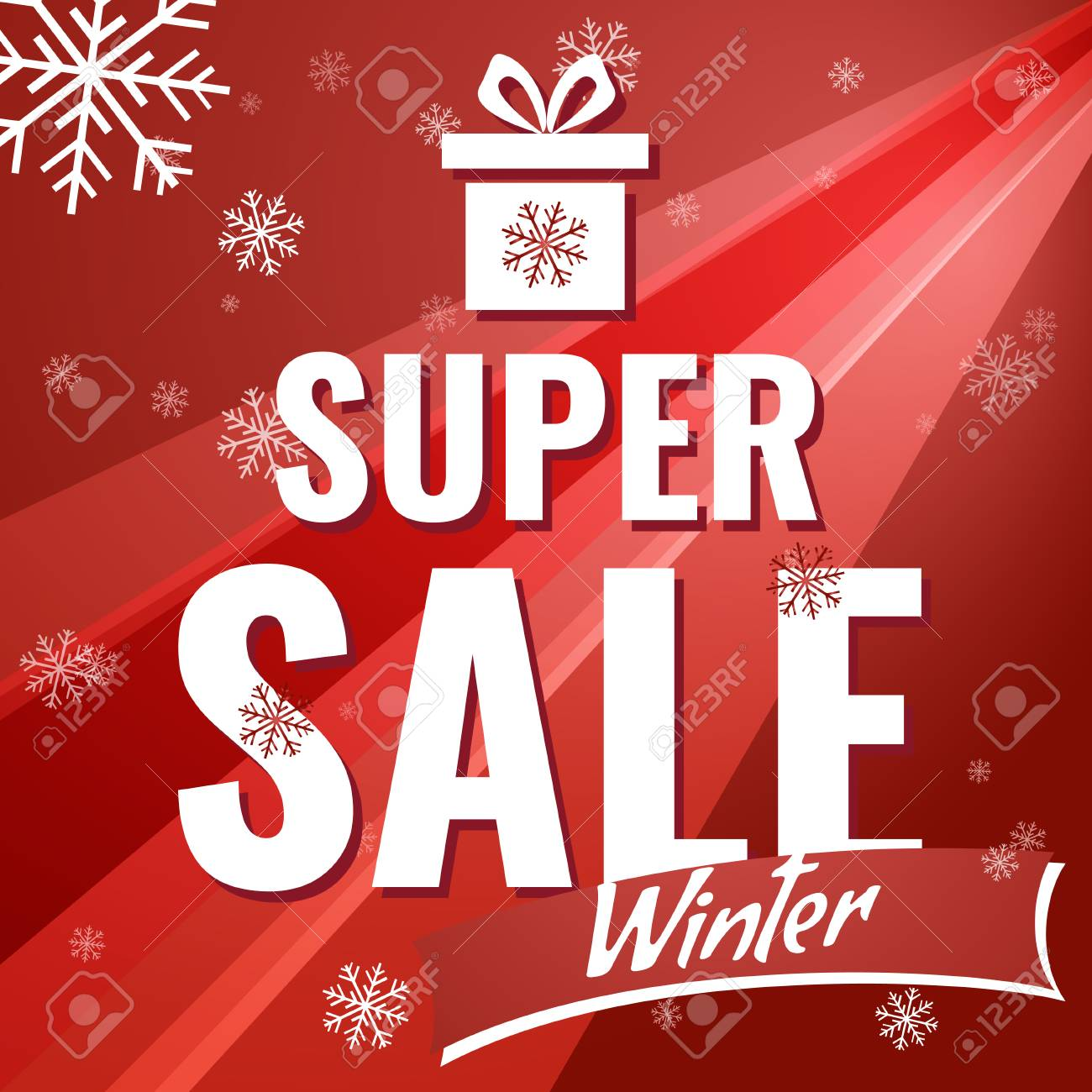 sale new year poster sale banner on red background with snowflakes text super sale sale vector