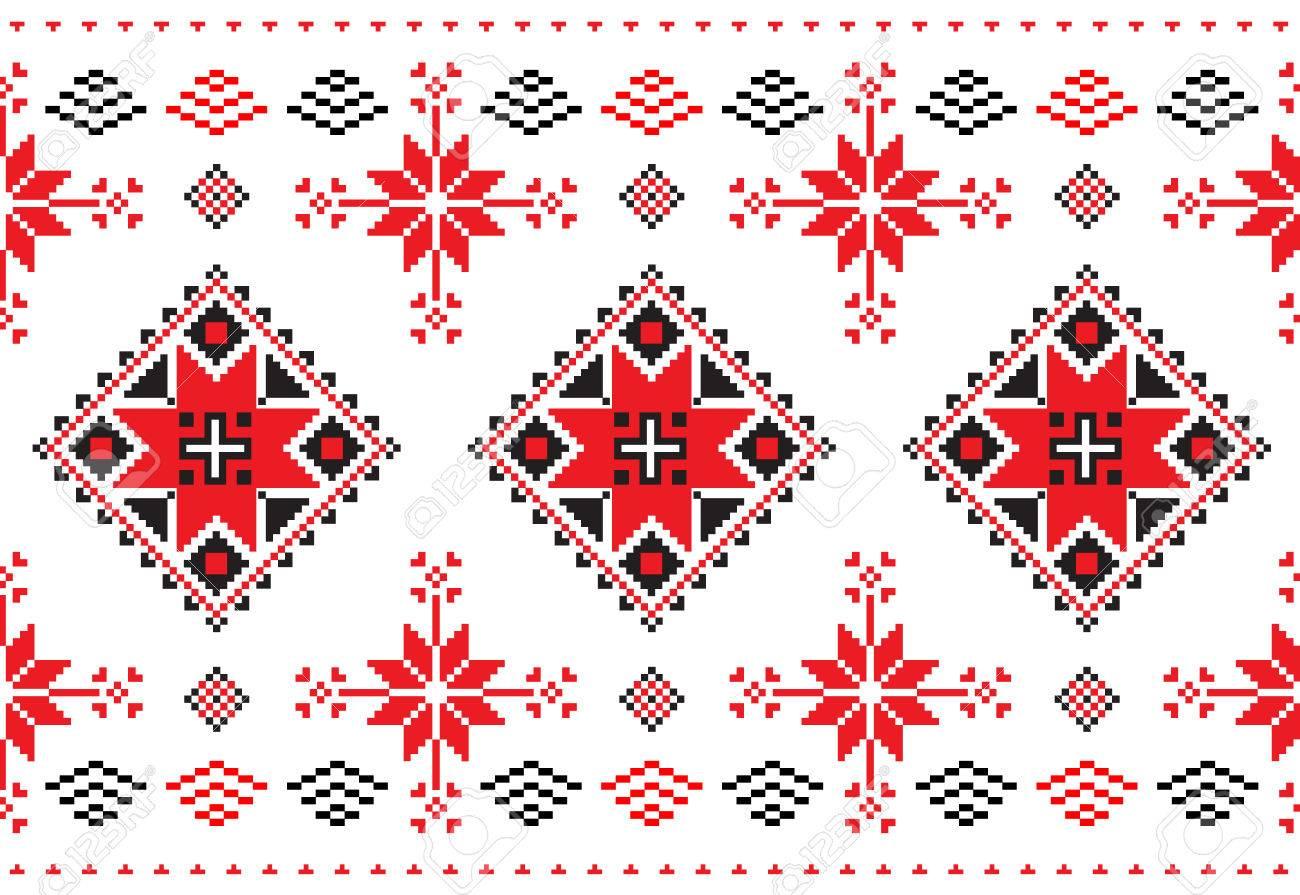 Patrón Transparente En Estilo Bielorruso Repitiendo Punto De Cruz ...