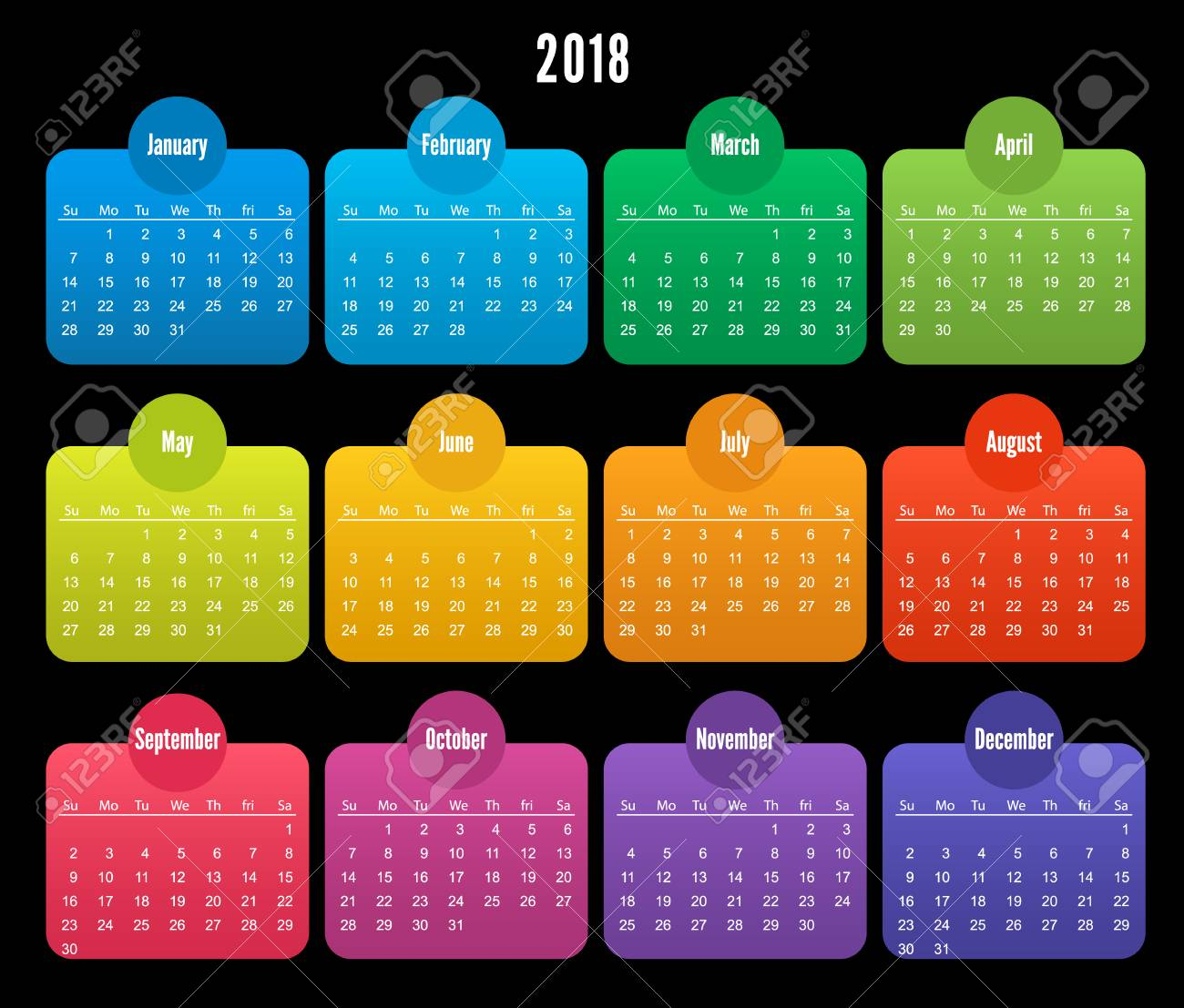 2018 calendar color design on black background set of 12 months color vector template