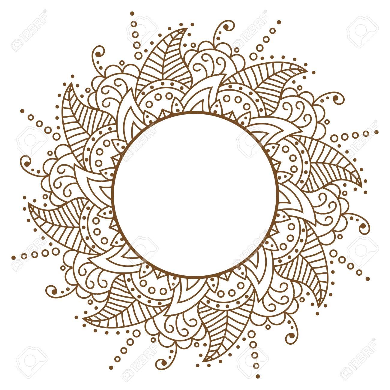 Vector Openwork Cloth Brown. Round Frame. Brown Pattern Vector ...