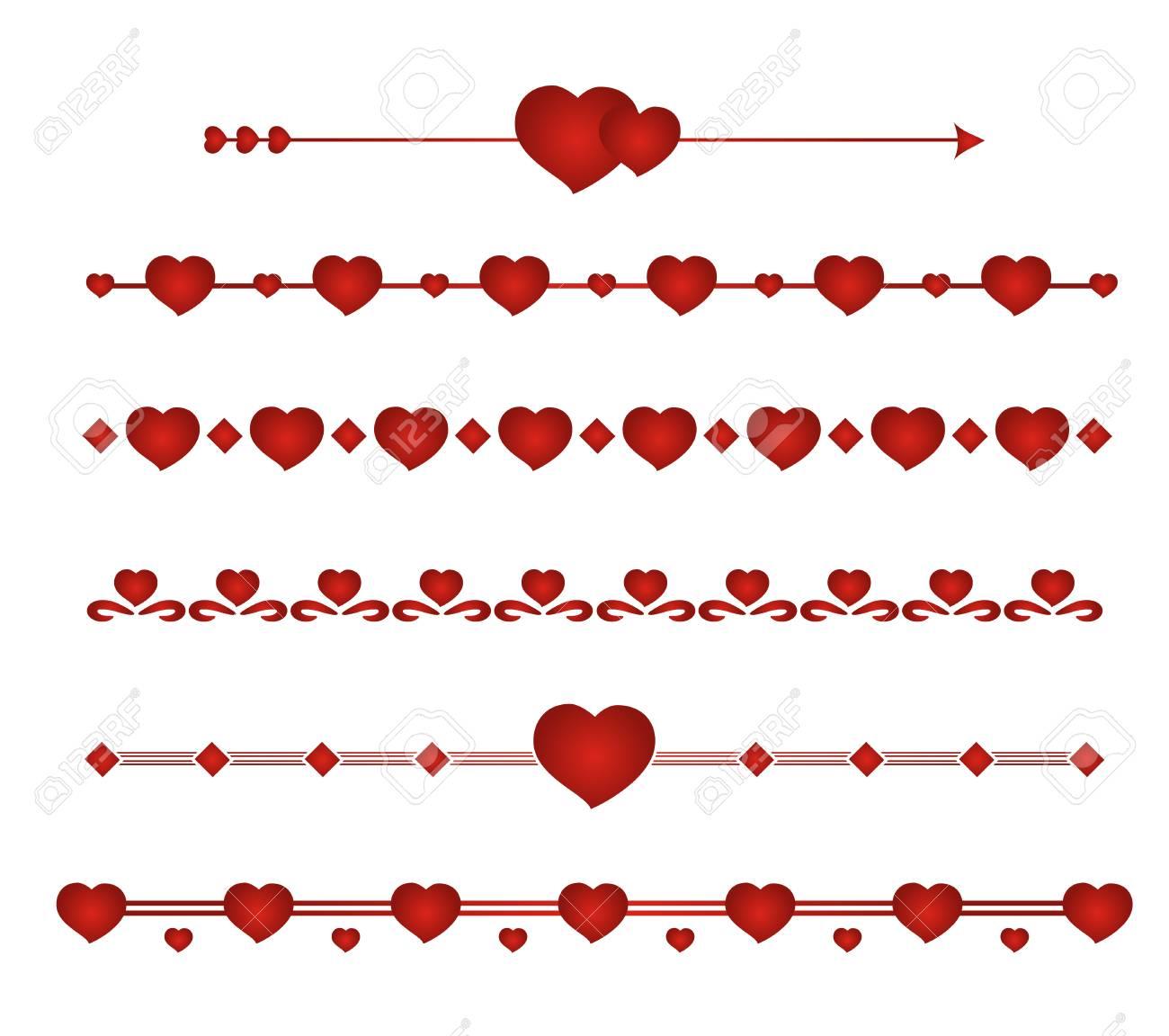 Border Vector Heart. Symbol Valentines Day. Set Border Wedding ...