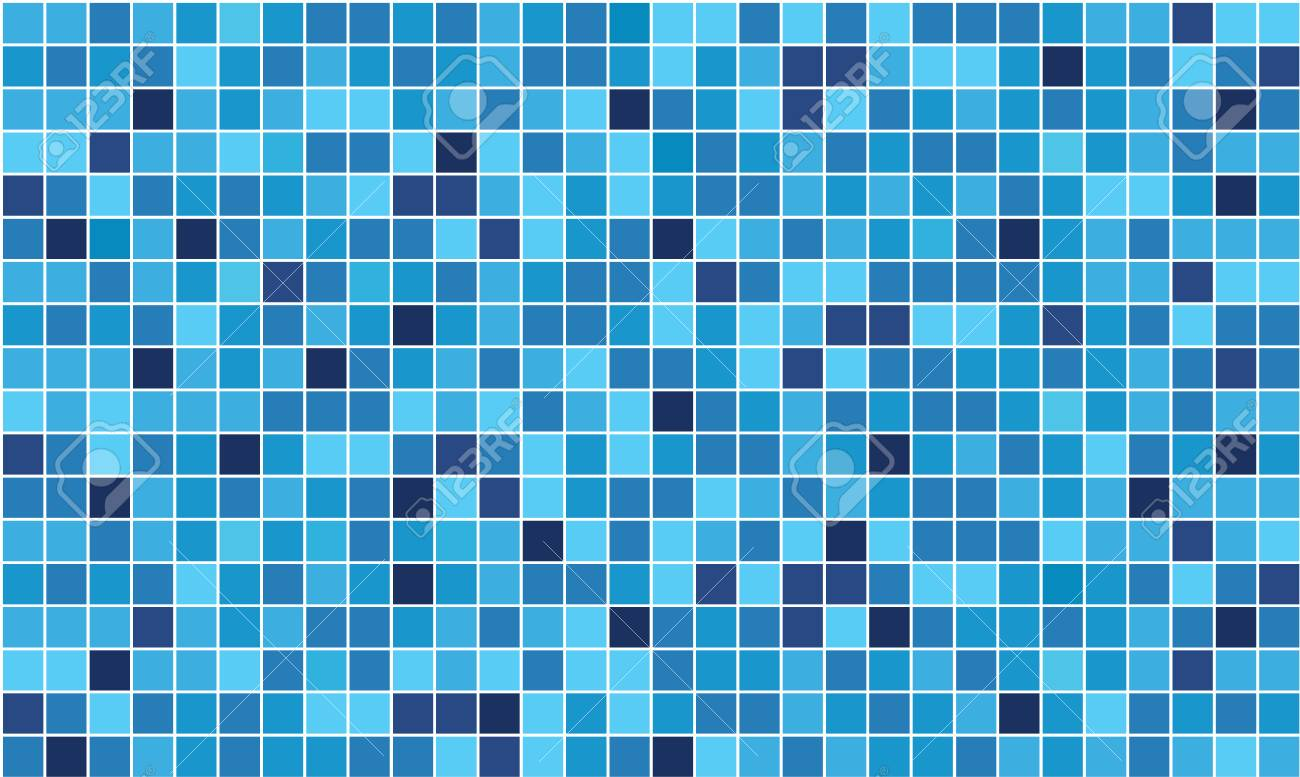 Mosaic Vector Seamless Pattern. Layout Vector Template. Blue ...