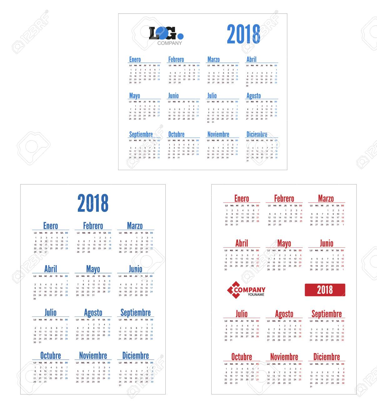 Spanish Set Horizontal And Vertical Calendar 2018 Template Royalty