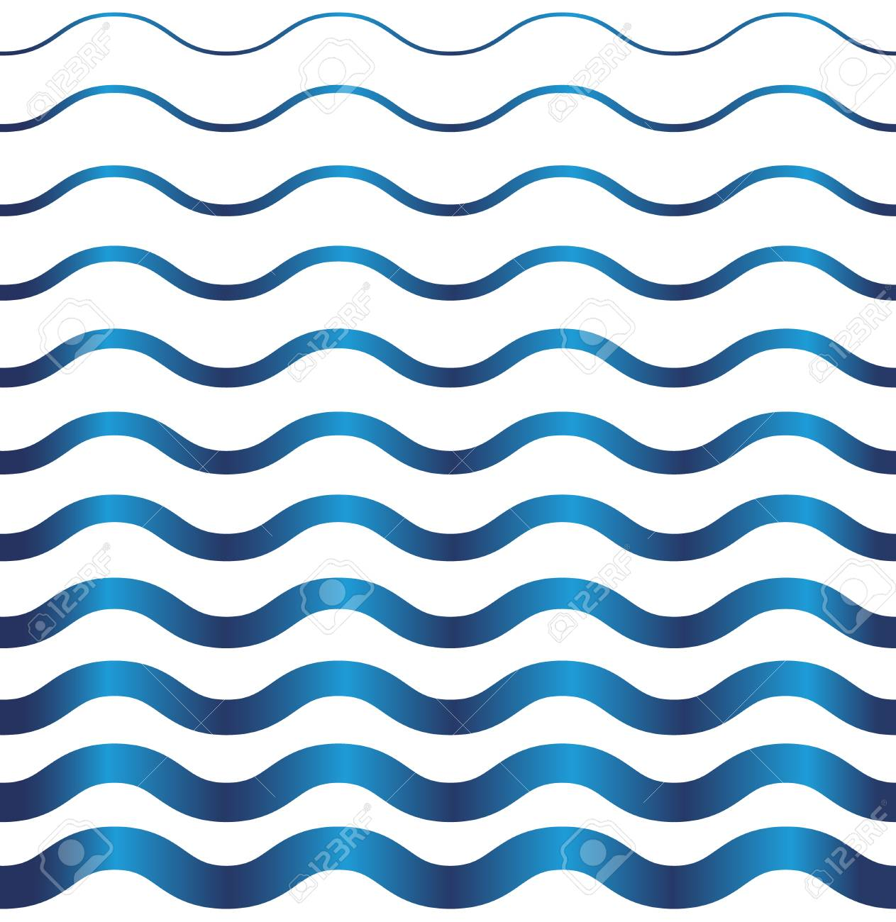 Seamless Pattern On White Background Blue Light And Dark Wave