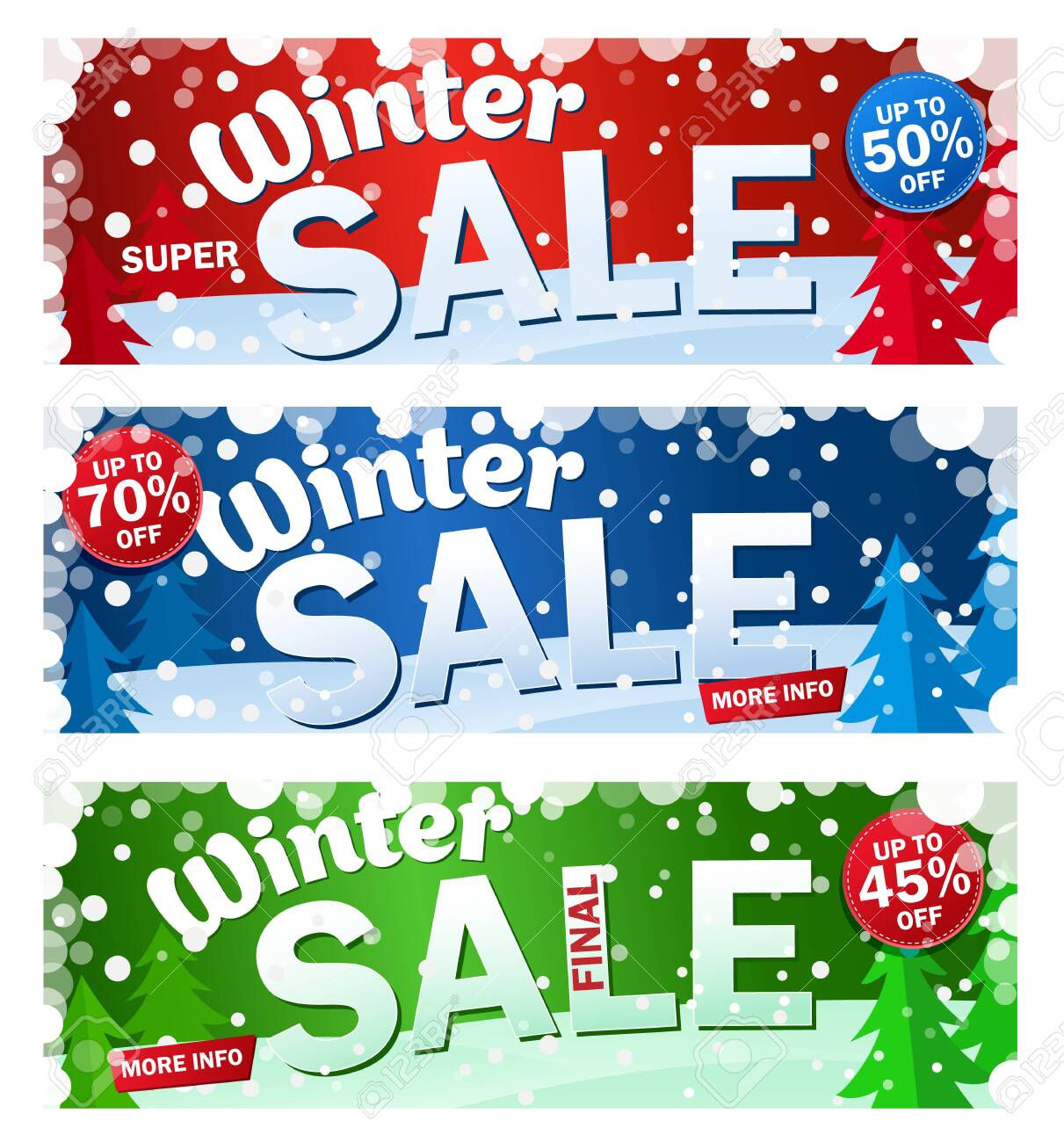 Set bright horizontal Sale banner on color background with snowflakes. Text - Winter super sale. - 130328909