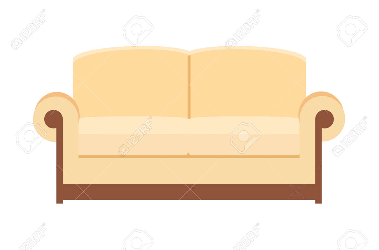 beige Sofa isolated on white. Sofa icon for interior house. Vector illustration in flat style. - 167324317