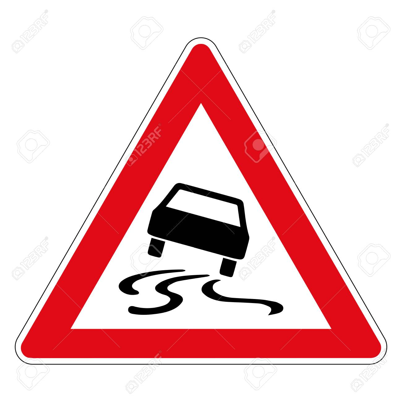 Danger of skidding or slipping due to humidity or dirt. Road sign of Germany. Vector graphics. - 139215793