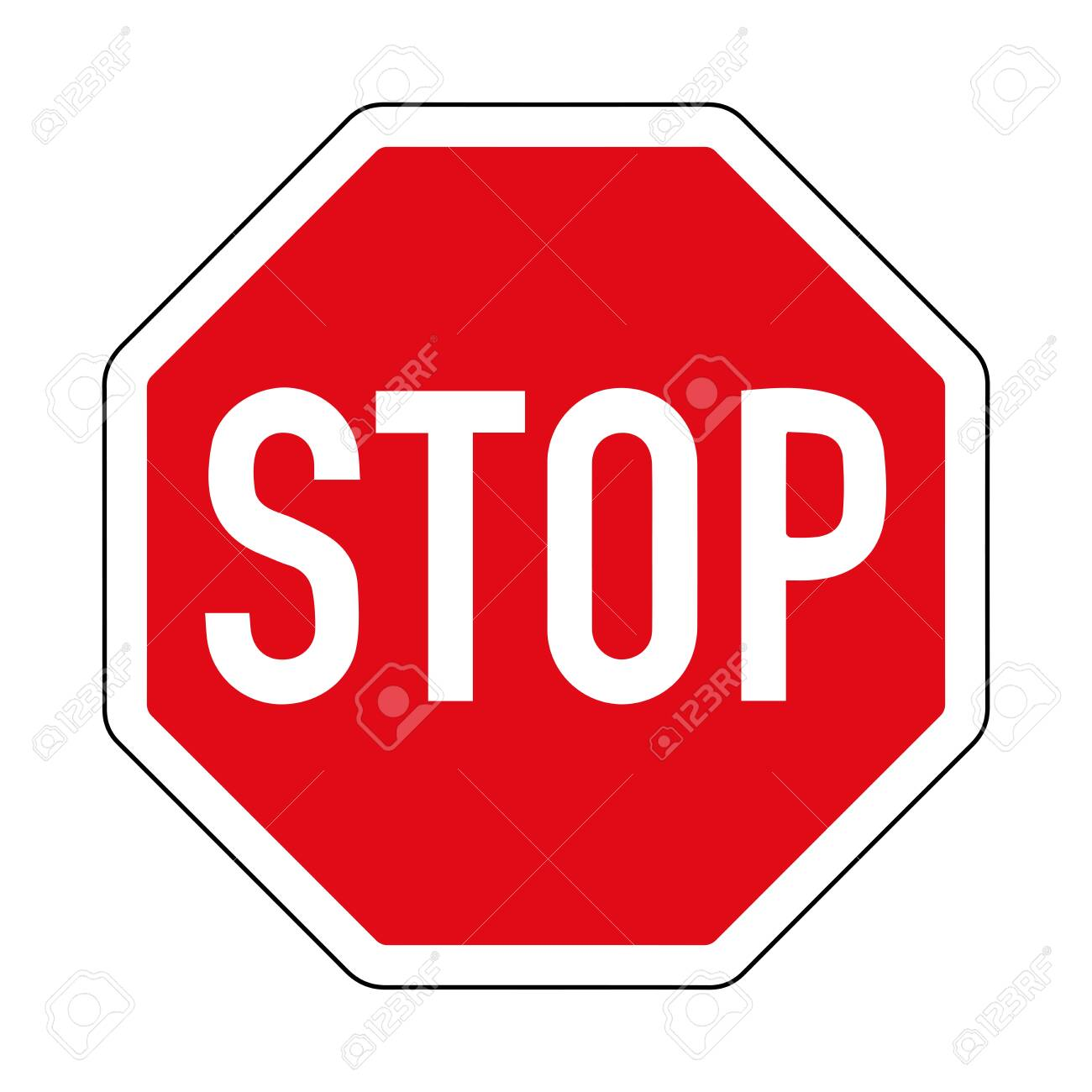 Provide an advantage. Stop. Road sign of Germany. Europe. Vector graphics. - 138859491