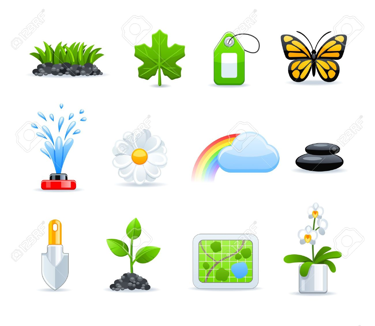 gardening icon set Stock Vector - 9535682
