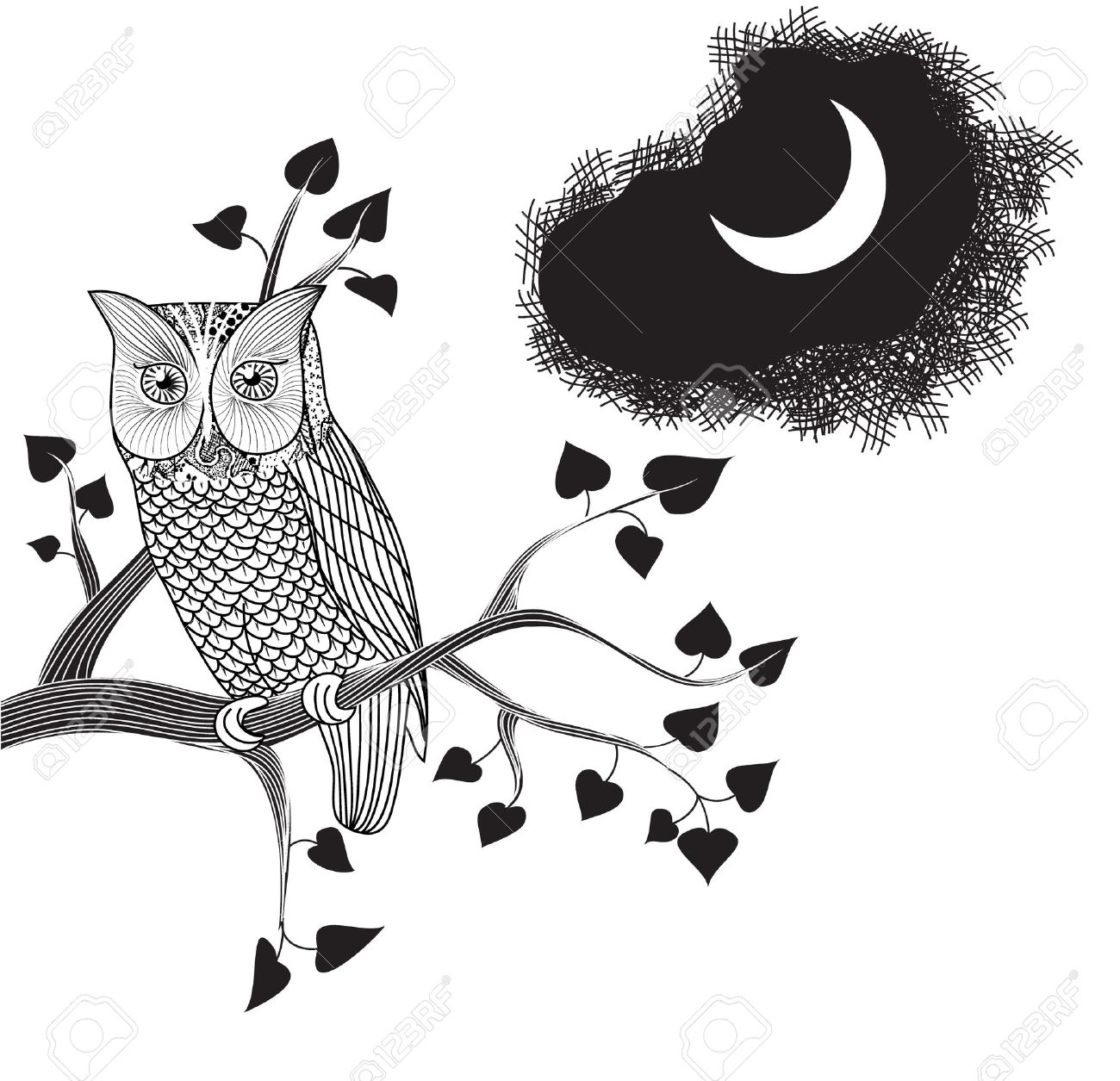 Moonlight and owl perched on a tree branch pencil drawing