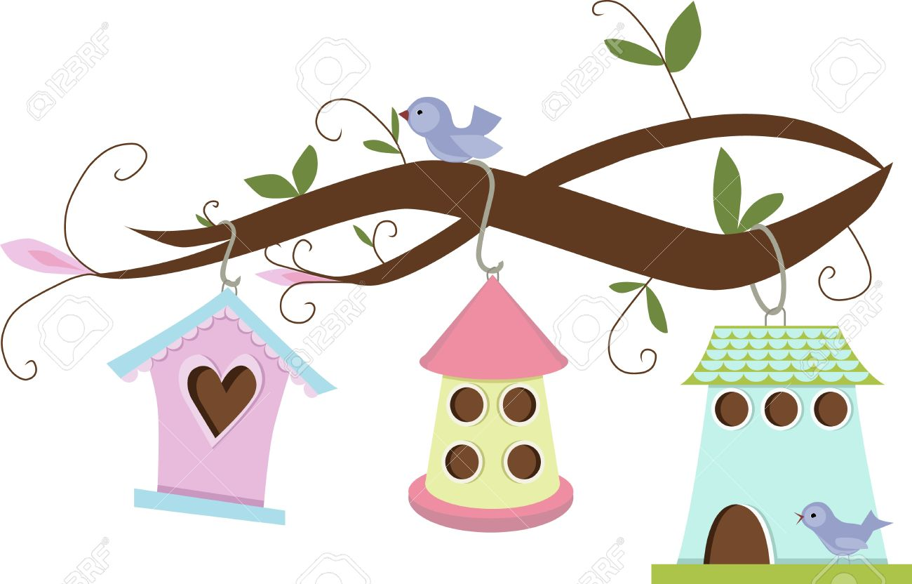 cute birdhouses hanging on tree branches royalty free cliparts rh 123rf com Cute Small Bird Clip Art Cute Flying Bird Clip Art