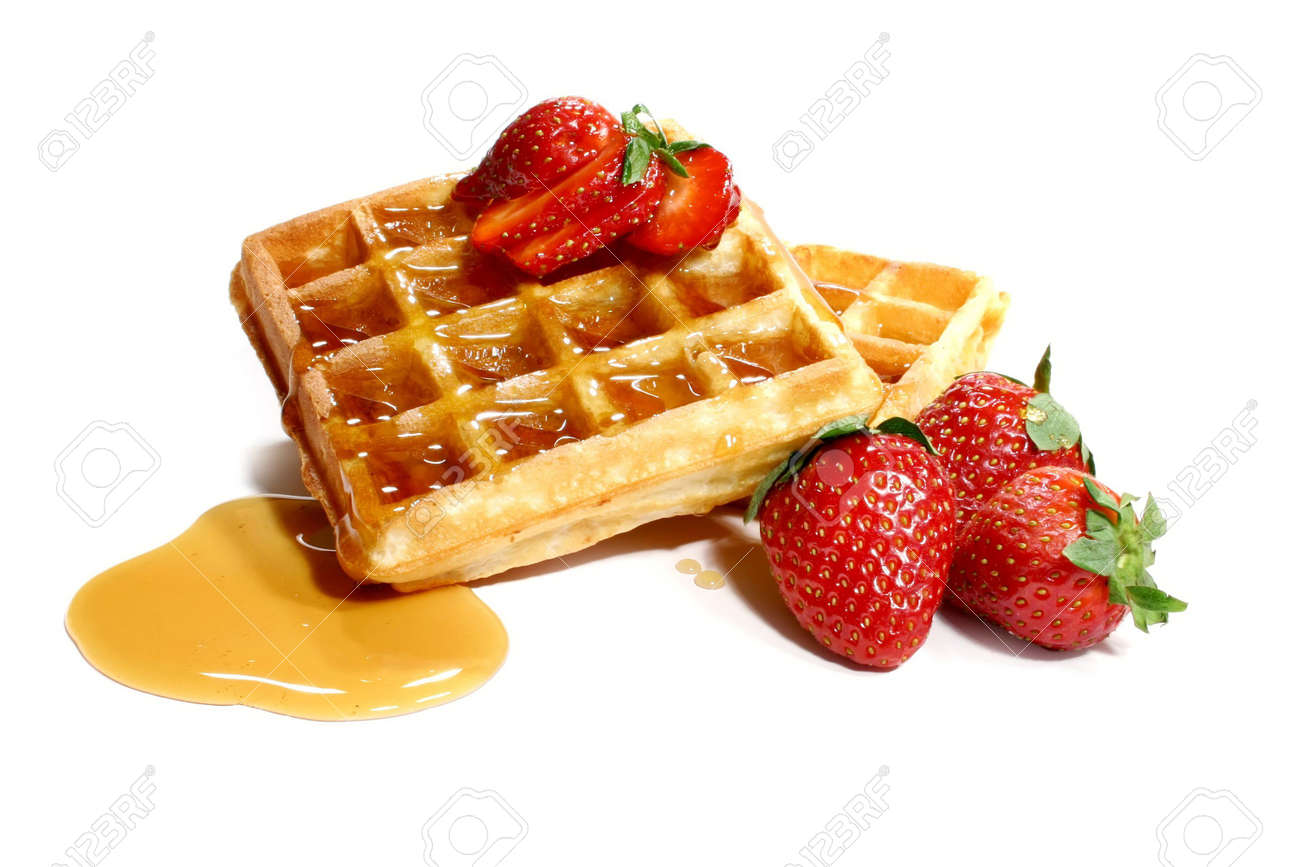 waffles and strawberries isolated on white background Stock Photo - 795486