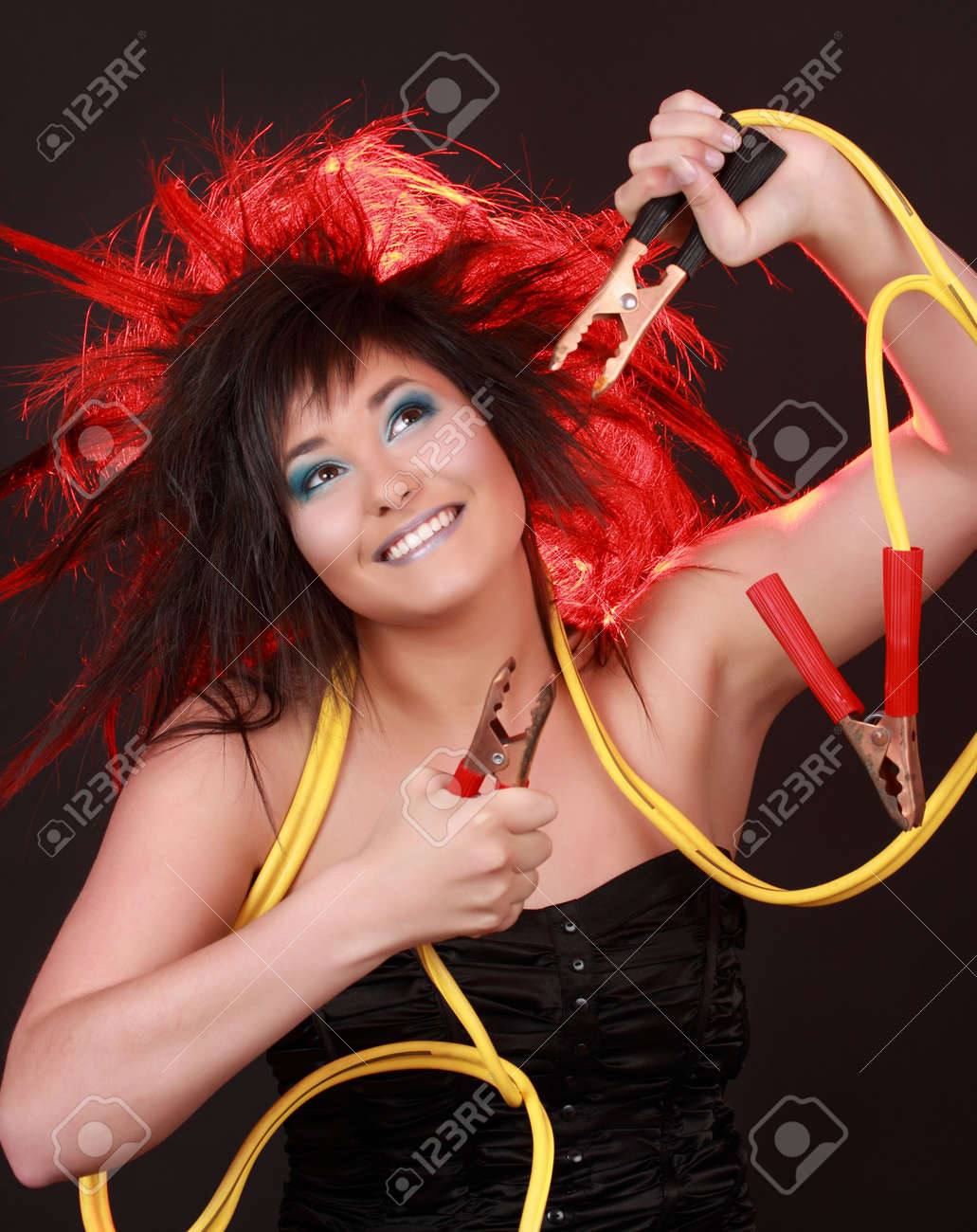 girl with yellow electric cable Stock Photo - 4900576