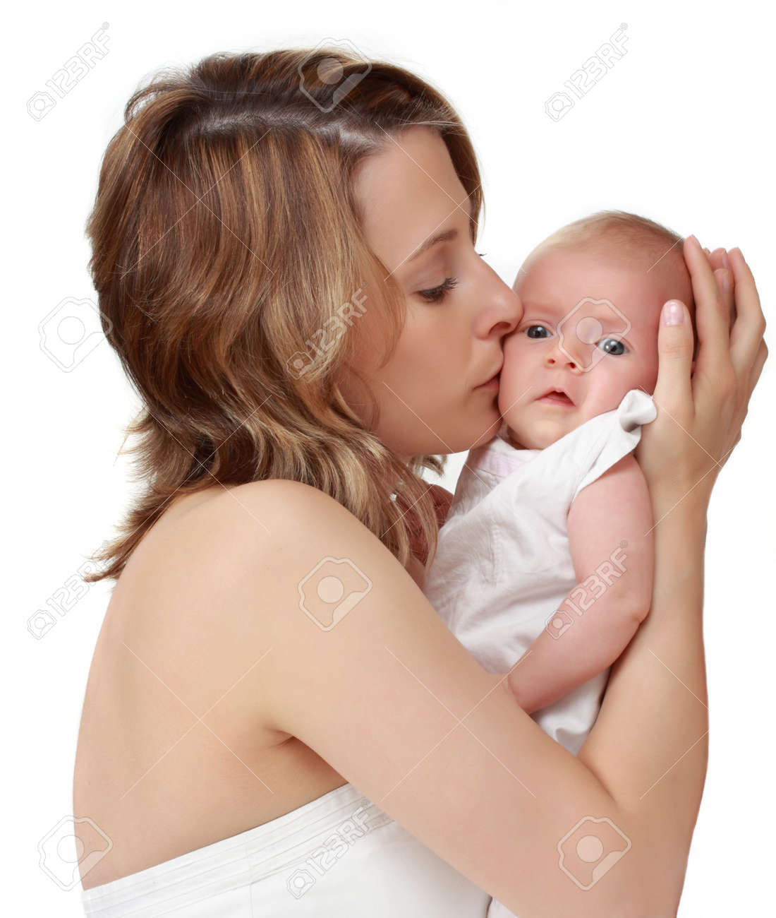 beautiful caucasian mother holding her baby girl Stock Photo - 4946608