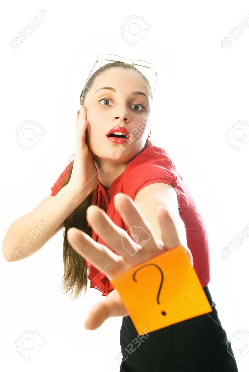 young businesswoman with a sticky note with a question mark on her hand Stock Photo - 4483521