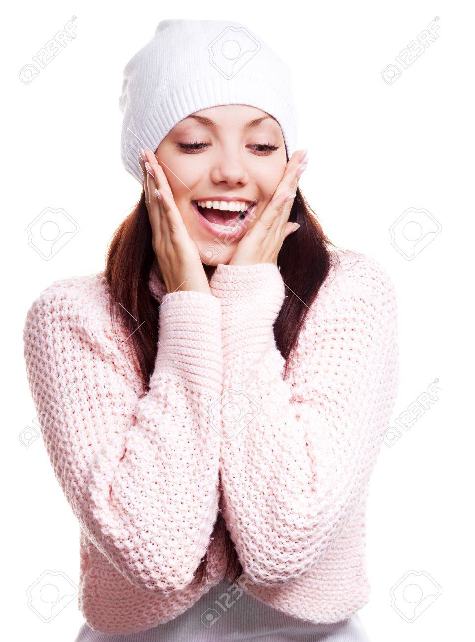 beautiful happy surprised young woman  looking down, isolated against white background Stock Photo - 11803348
