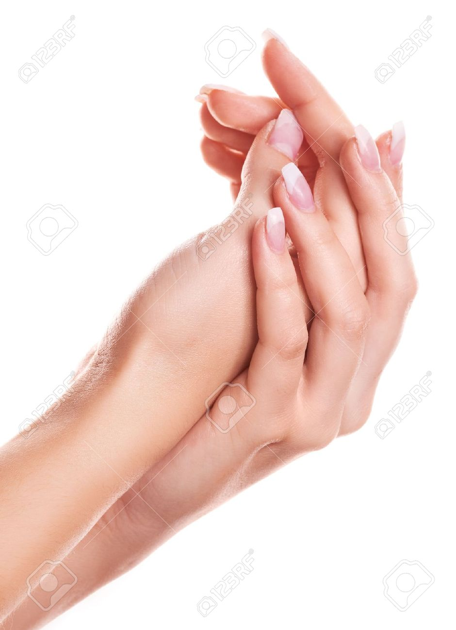 hands of a woman applying body lotion, isolated against white background Stock Photo - 11803338