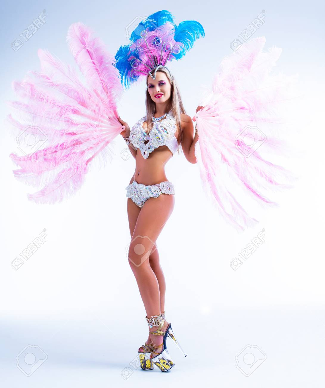 beautiful young woman wearing a Brazilian carnival costume with