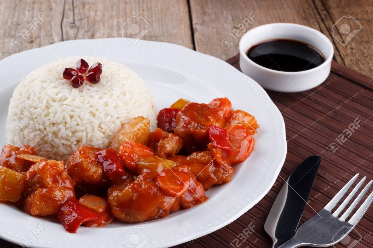 Sweet And Sour Pork With Rice Stock Photo Picture And Royalty Free Image Image 50630998