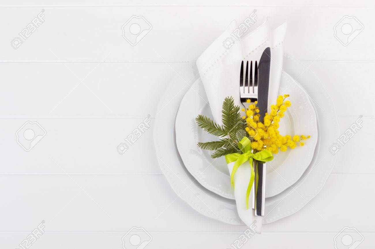 spring table setting with mimosa holidays background with copyspace - 72088676