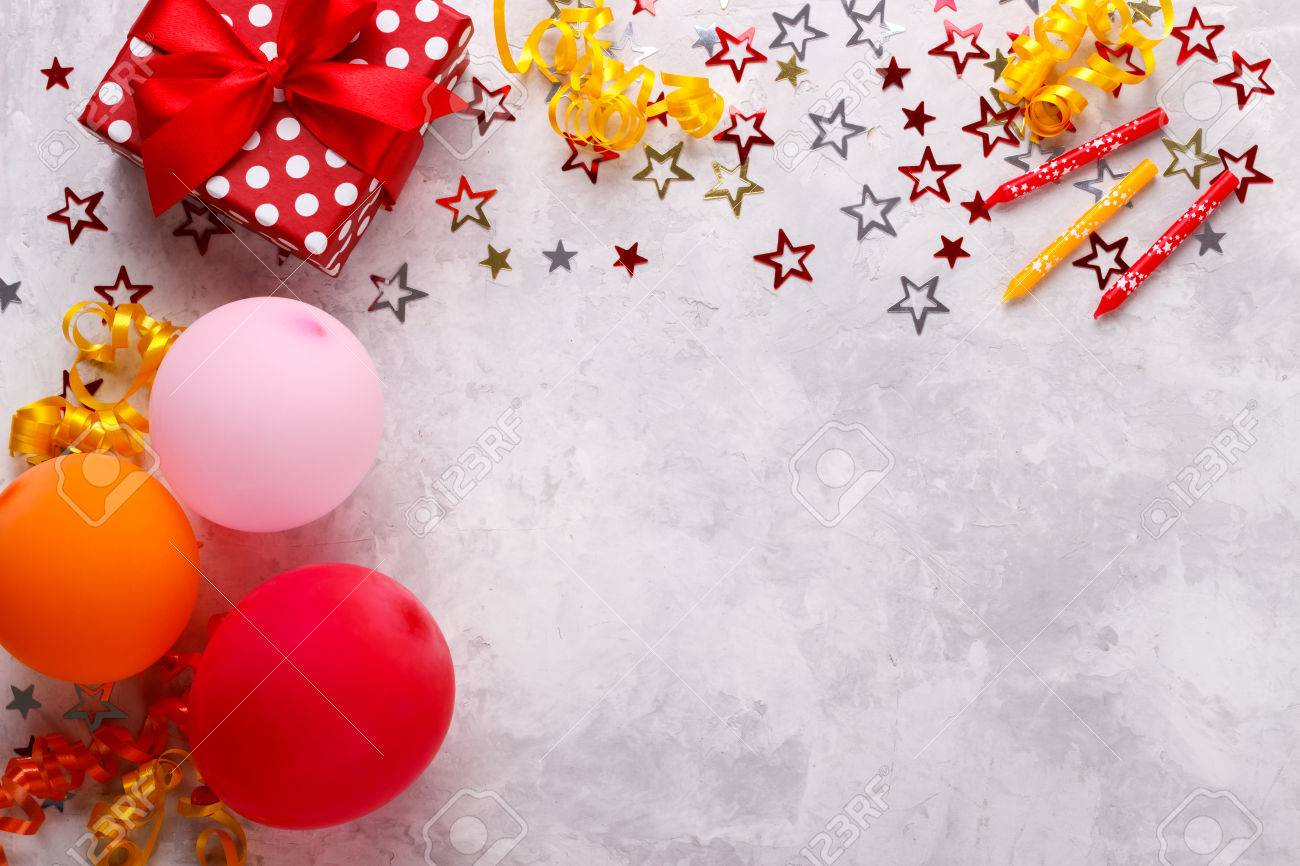 birthday party background border with baloons gift box and confetti