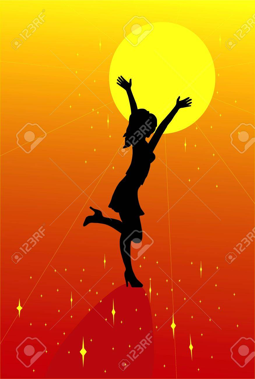 girl silhouette with the sun Stock Vector - 11981590