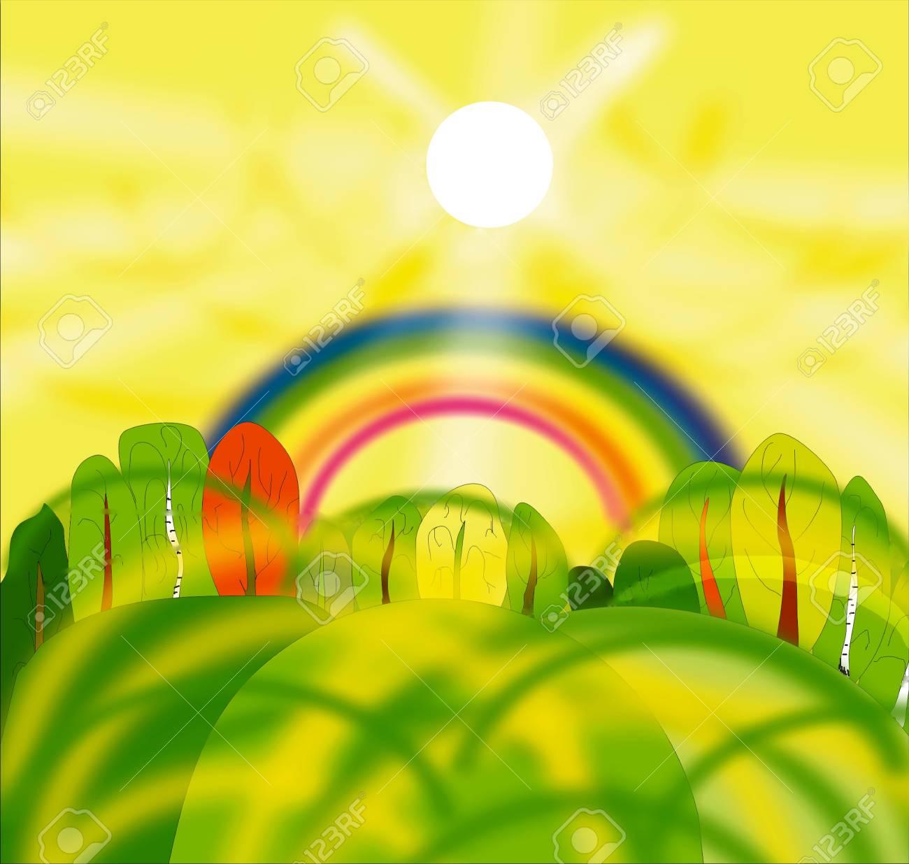 Sun and rainbow Stock Photo - 12379387