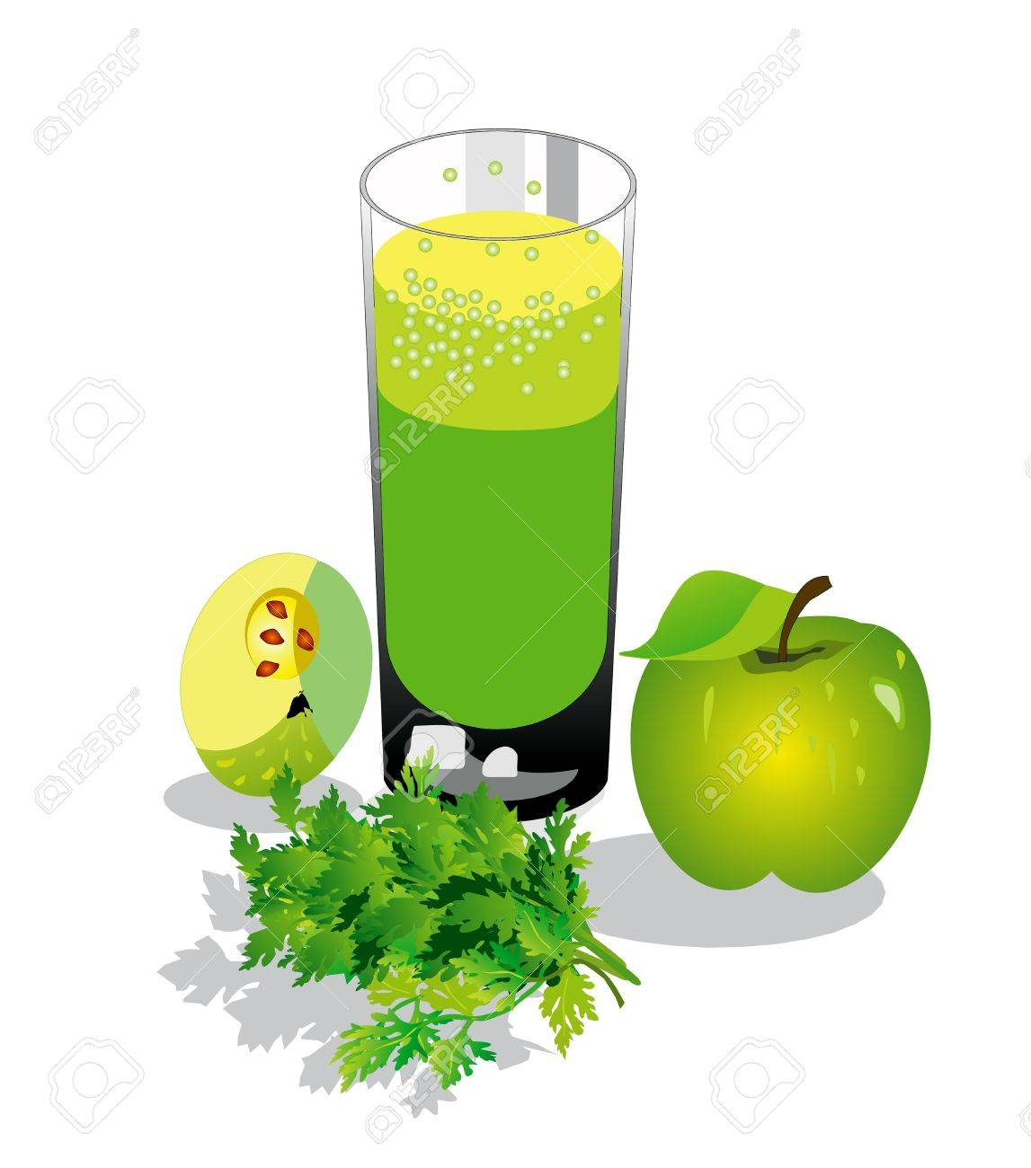 Fruit juice, green apples, parsley Stock Vector - 12379392