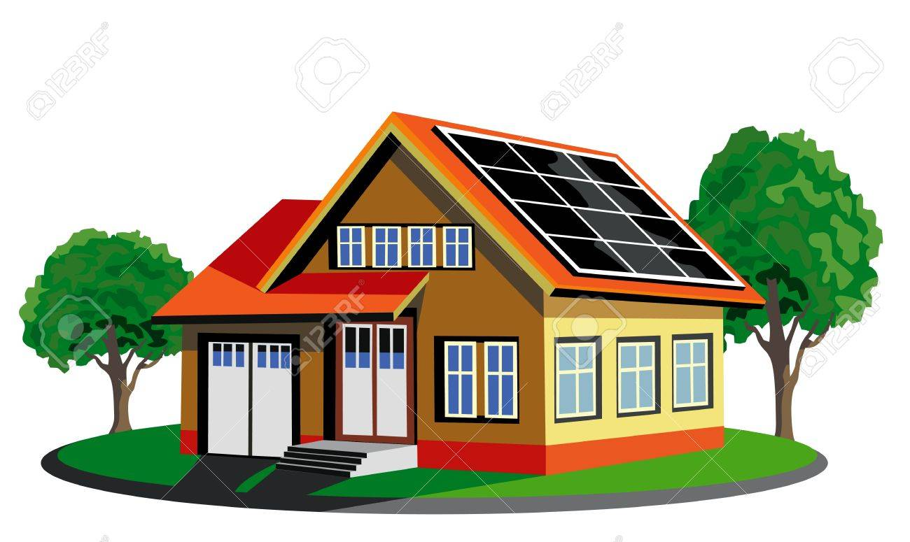 Awesome Ecology House With Solar Cell Stock Vector   14308813