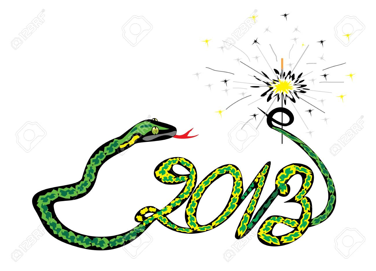 green snake 2013 with a sparkler Stock Vector - 14753707