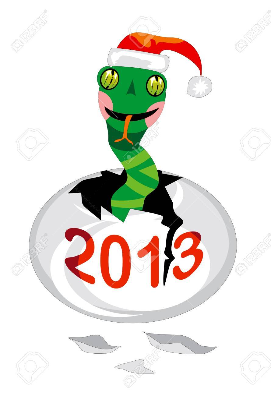 Santa snake hatched from egg Stock Vector - 14753705