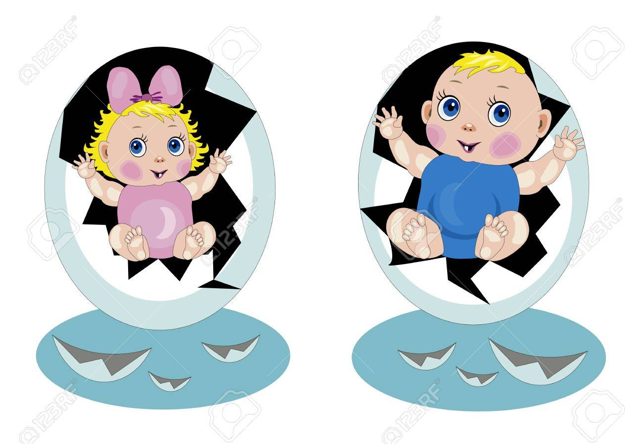 Babies hatched from eggs Stock Vector - 15477553