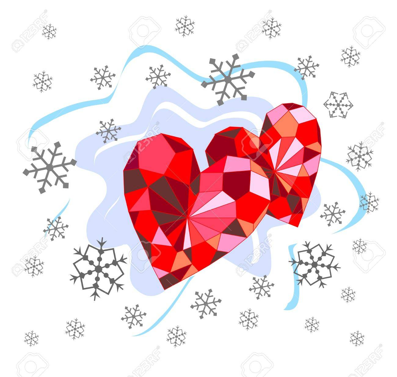 Beautiful background with ruby hearts and snowflakes Stock Vector - 16692778