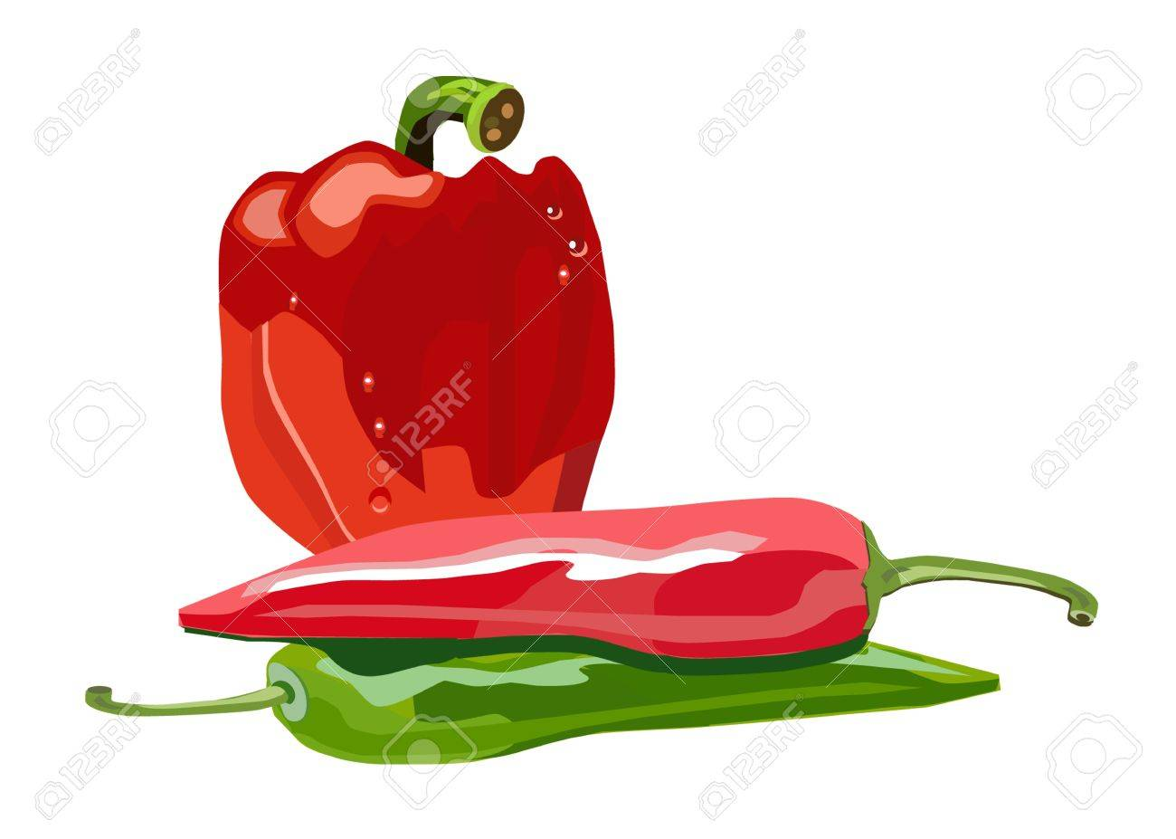 vector isolated red and green peppers Stock Vector - 17380182
