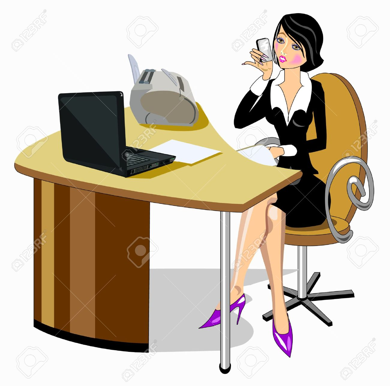 Business woman sitting at the table Stock Vector - 17865200
