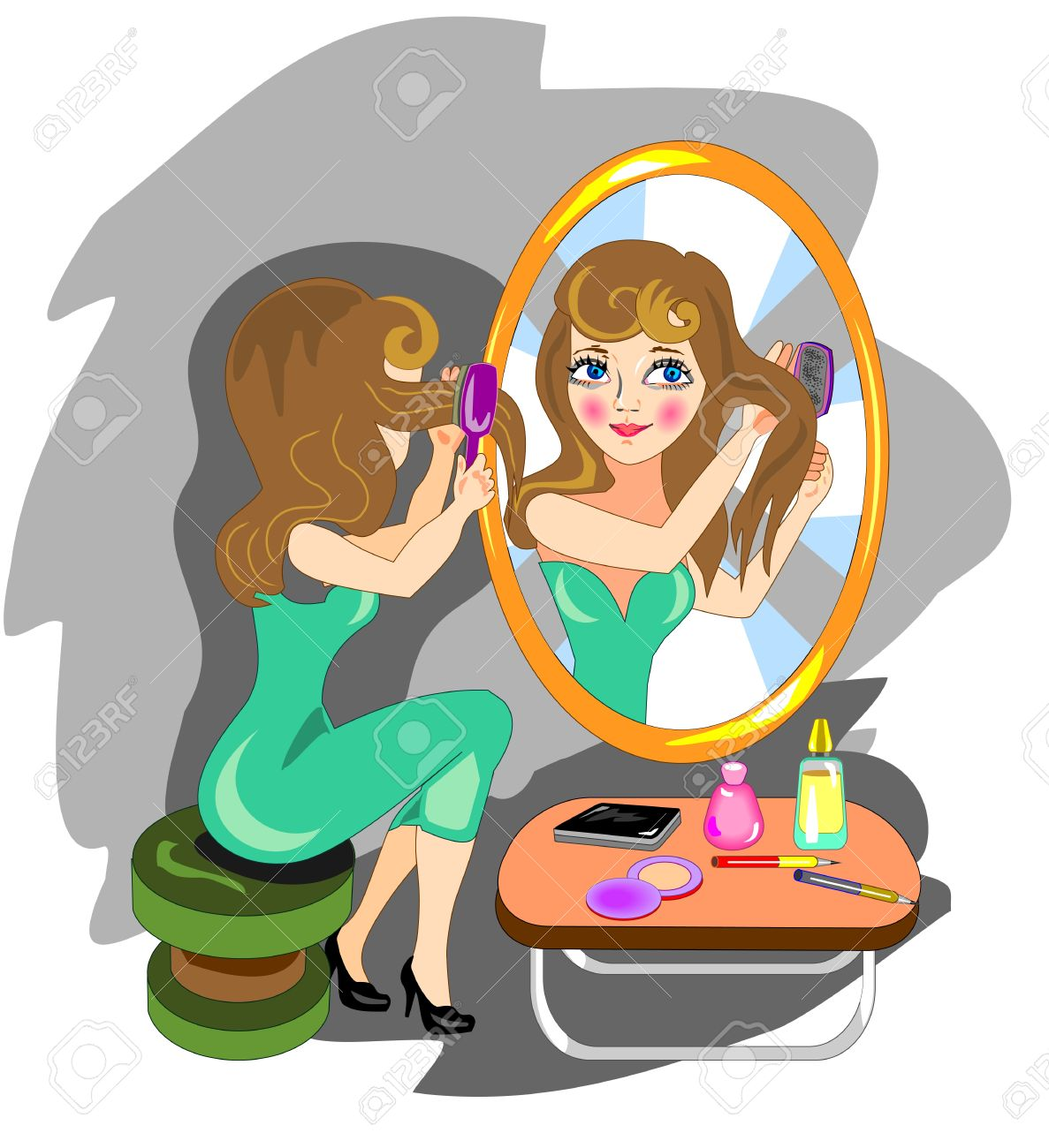 Woman combing hair front of a mirror Stock Vector - 19908062