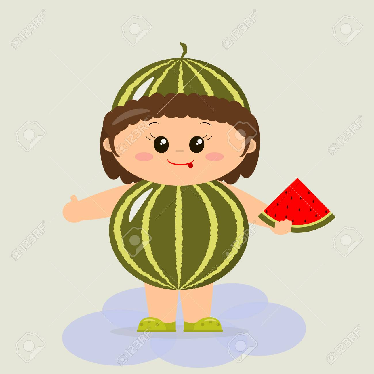 Baby in a watermelon costume in a cartoon style. Stock Vector - 81712814  sc 1 st  123RF.com & Baby In A Watermelon Costume In A Cartoon Style. Royalty Free ...