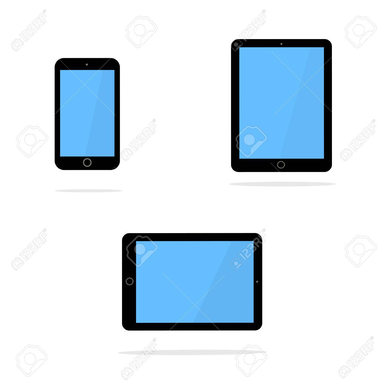 Icons of black smart phone and tablet with blank screen in ipad