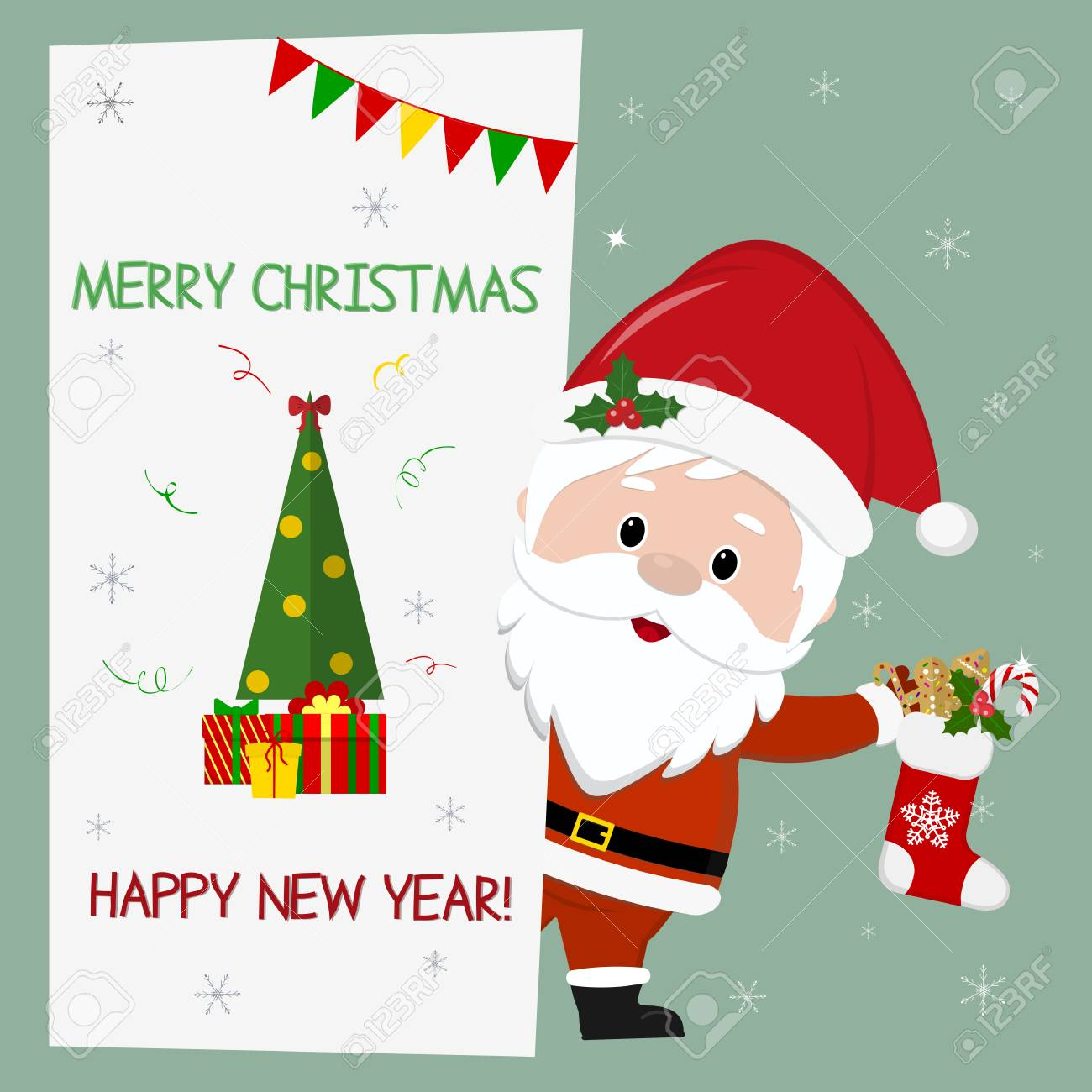 Happy New Year And Merry Christmas Cute Santa Claus Holding