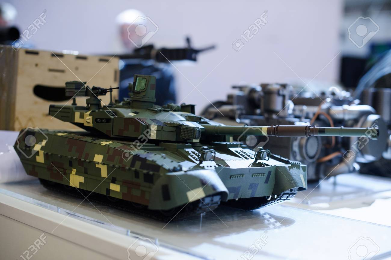 Kiev, Ukraine - October 12, 2017: models of modern military equipment