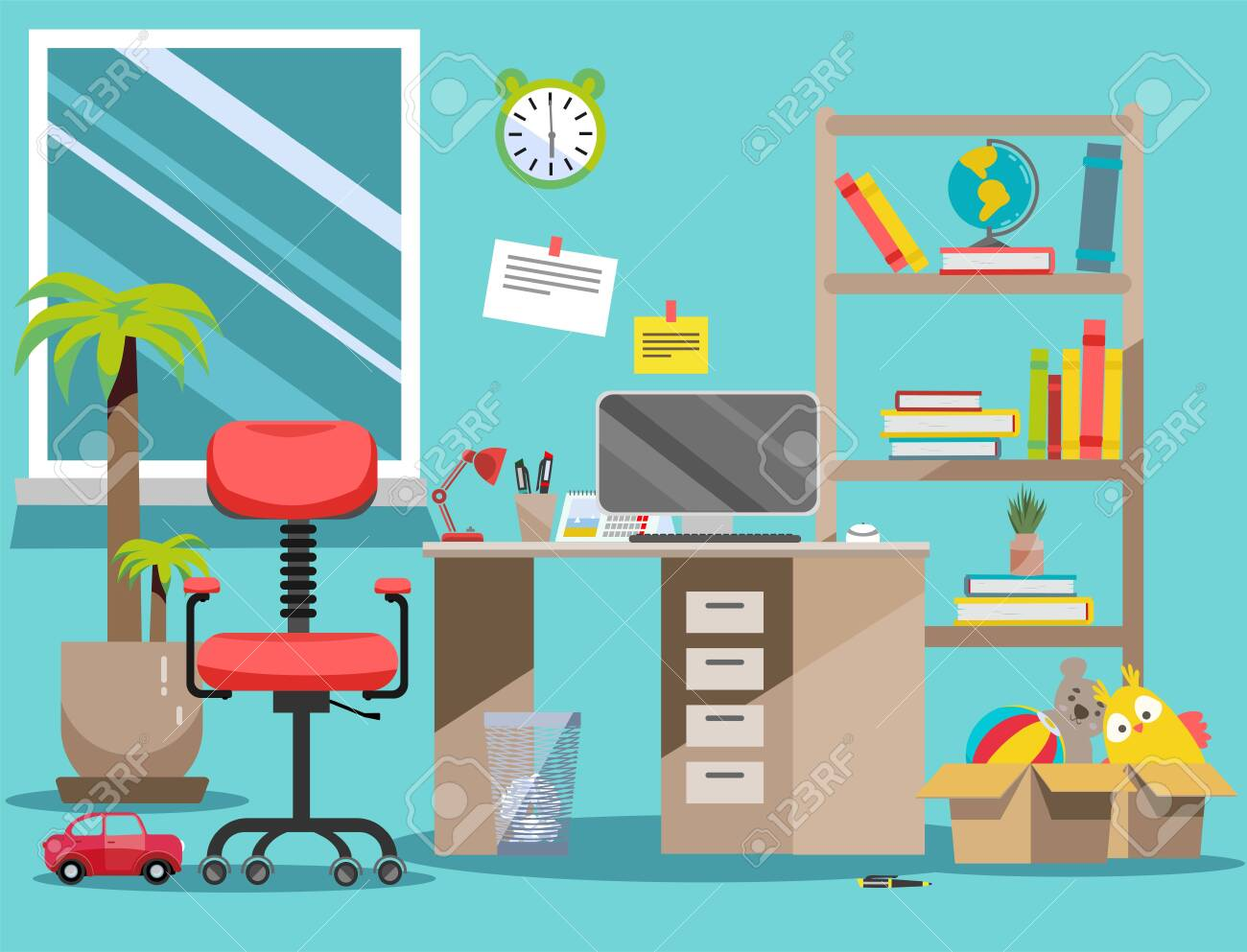 Interior nursery. Boys room with table, computer, bookshelf,toys in boxes. Flat cartoon vector illustration.Cozy interior of childrens room with toys, furniture, window. Teenager room with workplace - 121999699