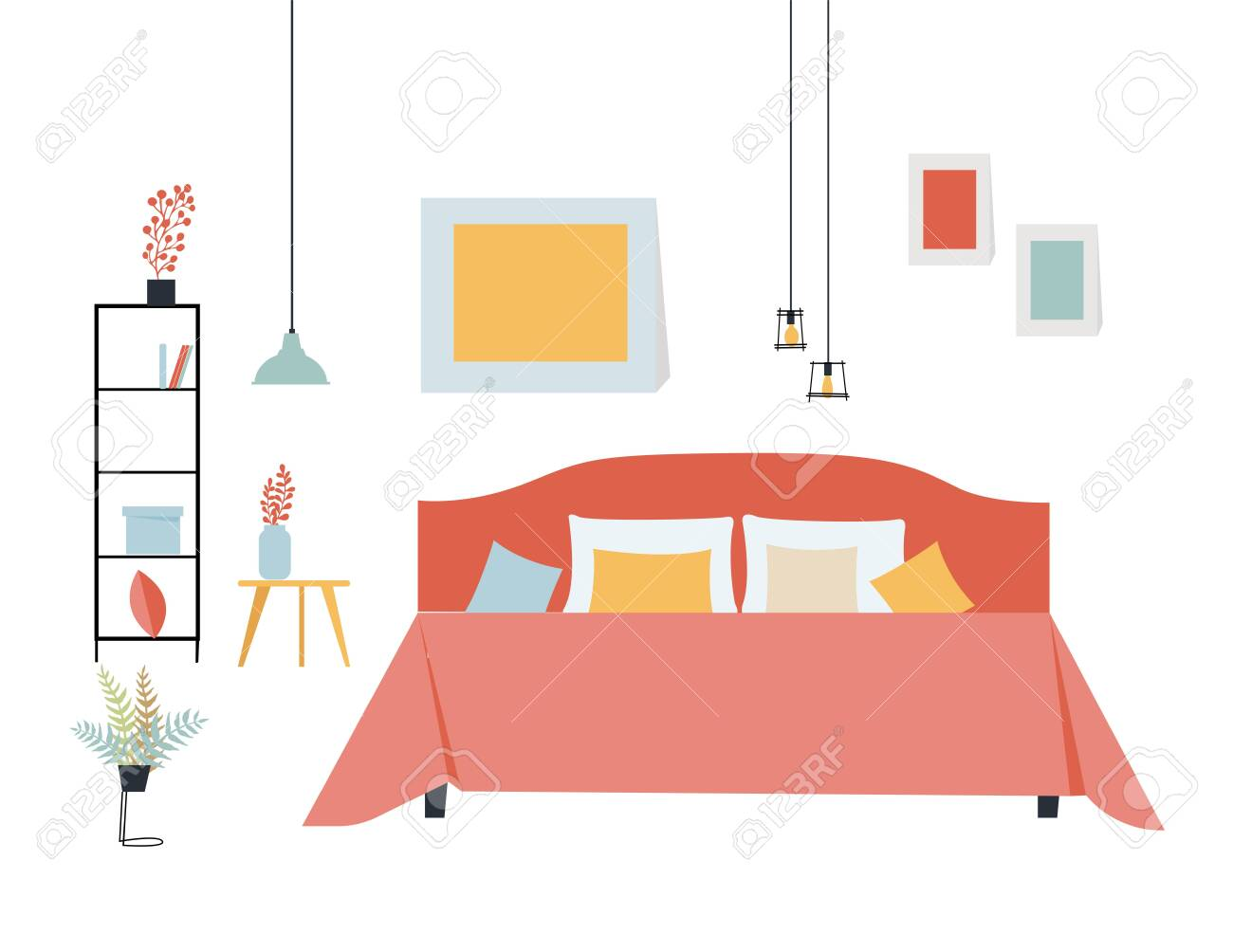 Simple flat vector illustration of a bedroom with a double bed,..