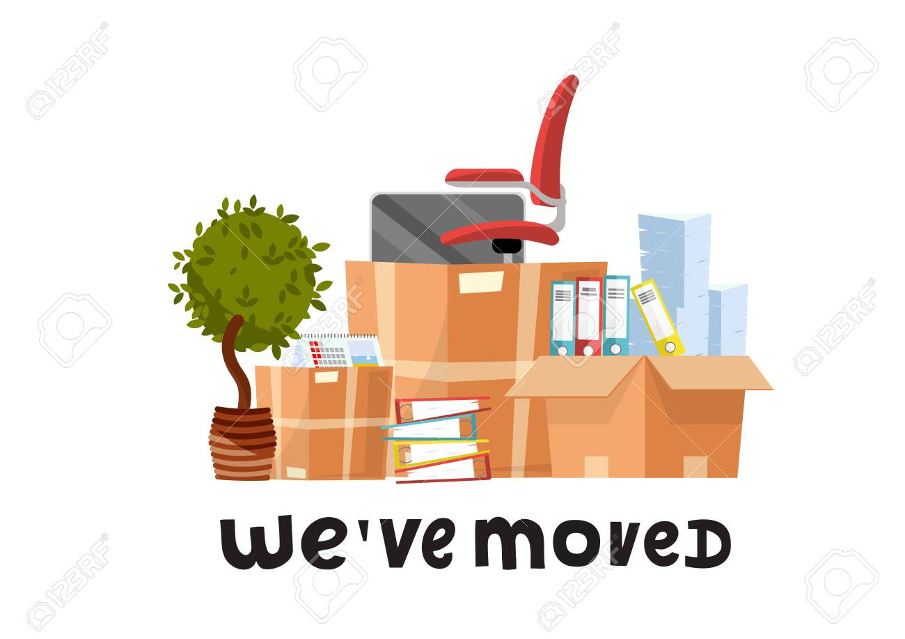 We've moved - hand drawn lettering quote.A lot of open cardboard boxes with office supplies - folders, documents, monitor, red chair on wheels, potted plant.Flat cartoon vector set on white background - 122681859