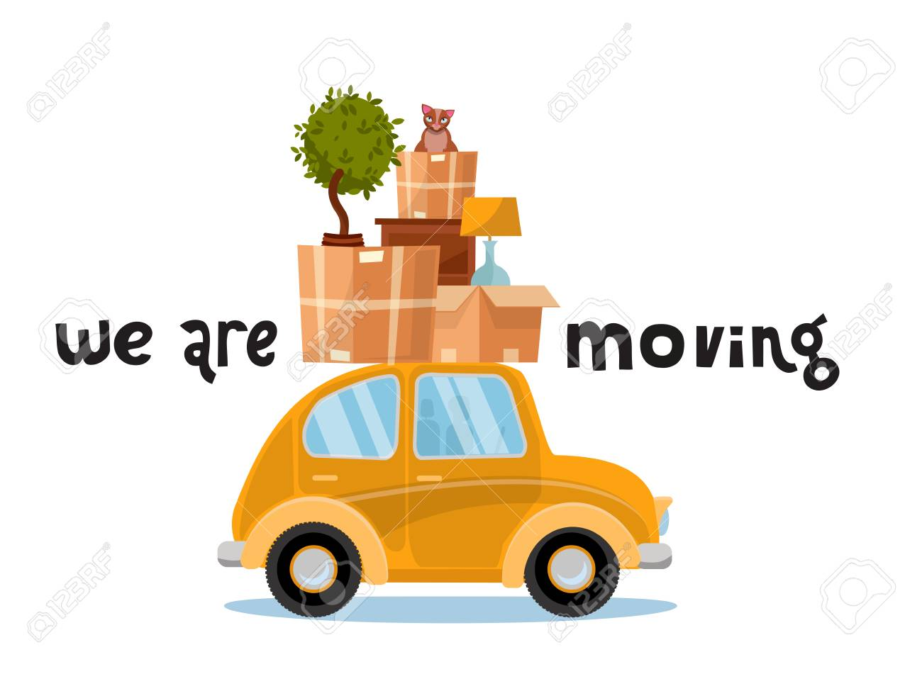 We Are Moving Lettering Concept. Smallyellow Car With Boxes On.. Royalty  Free Cliparts, Vectors, And Stock Illustration. Image 122681868.